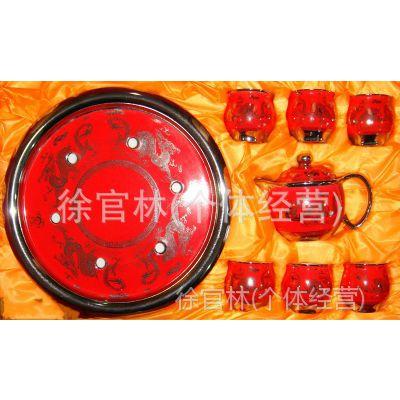 厂家批发 景德镇陶瓷茶具高档铂金骨瓷大盘功夫茶具套装红金龙