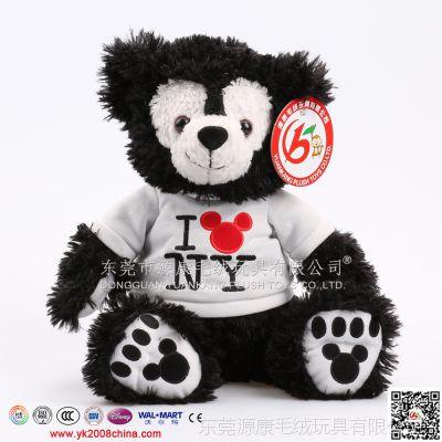 毛绒玩具定做 毛绒公仔加工  黑色穿衣服熊公仔 外贸玩具