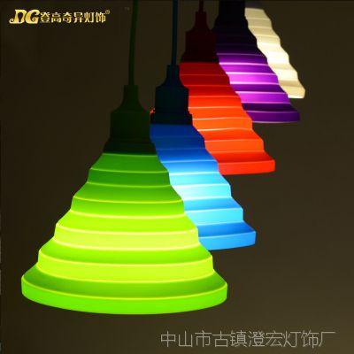 多彩硅胶吊线灯罩可折叠吊灯e27螺口灯头创意灯罩灯具灯饰配件