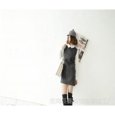 韩版英伦风假两件毛呢连衣裙 淘宝网一手货源代发 女装网店代销