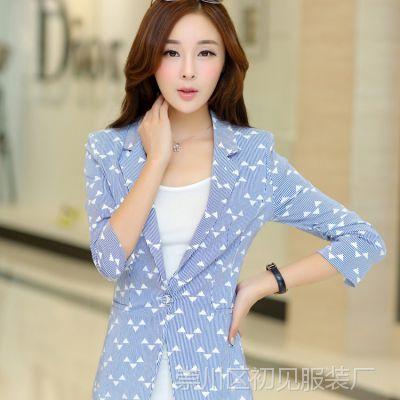 2015新品女式小西装 韩版条纹一粒扣西服 修身七分袖职业装外套女