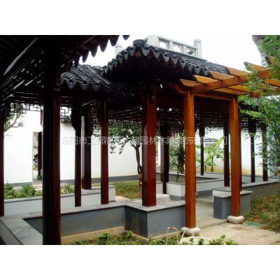 彩绘长廊 文化长廊 休息长廊 古建走廊 私家庭院花园配置 雕刻工艺圆柱
