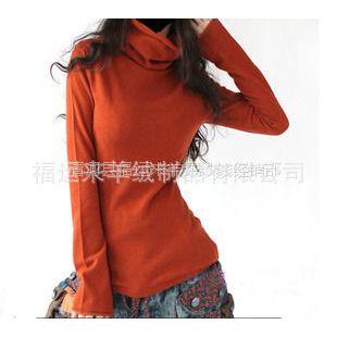 供应新款女装羊绒衫修身毛衣短款打底衫堆堆领长袖针织衫阿卡同款