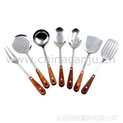 【厂家供应】红木柄厨具 锅铲 铲勺 肉叉 漏勺不锈钢 厨具套装