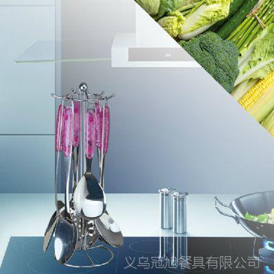 水晶夹柄不锈钢厨具七件套 锅铲套装 烹饪汤勺铲