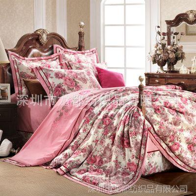 供应棉麻提花四件套 欧式月牙边床单款床上用品 纯棉被套 特价批发