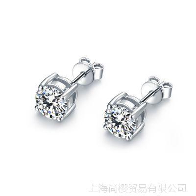 2014新款 纯银电镀白金简约经典璀璨时尚SONA钻四爪耳钉字印950
