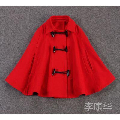 2014冬季新款 欧美精品女装批发 欧洲站 牛角扣红色斗篷外套W1787
