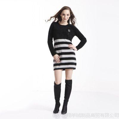 2015秋冬新款女式长款圆领半身横条貂绒衫毛衣外套女韩版针织衫