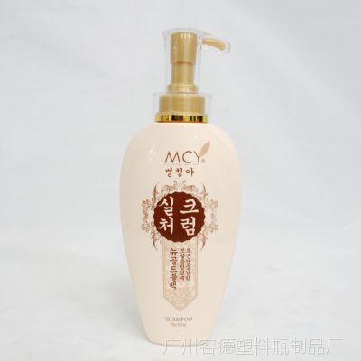 广州化妆品塑料瓶、壶厂家批发PET塑料瓶300ML泵头洗发水瓶子高档