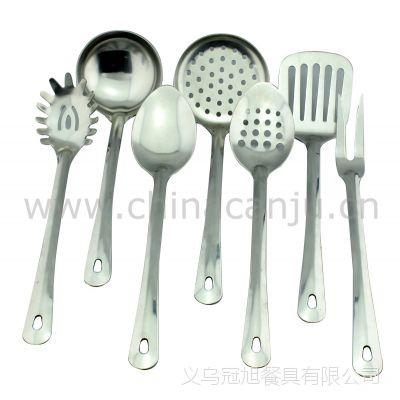 【厂家供应】穿孔光柄厨具 锅铲 勺 漏勺 不锈钢 厨具套装 烹饪勺
