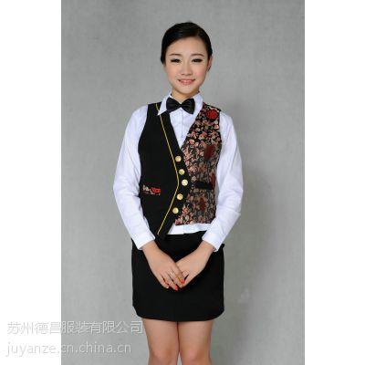 酒店工作服冬装 长袖西餐厅快餐店服务员服装定做设计