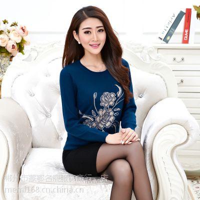 2016新款秋冬装貂绒毛衣女式套头针织衫 修身显瘦打底貂绒衫女