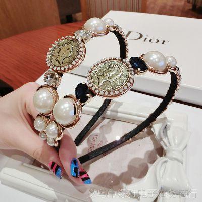 韩版 欧美复古风 复古超美女王头像珍珠宝石发箍珍珠头箍