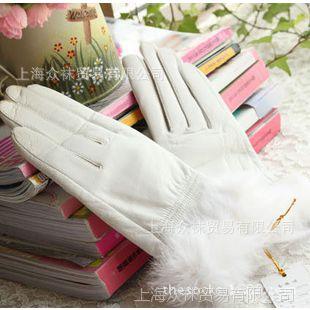 秋冬保暖 白色小羊皮手套 绒毛内胆濑兔毛口女士真皮手套