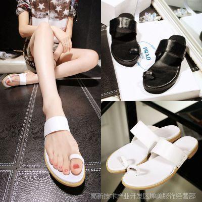 跑量款2015夏季新款韩版真皮手工纯色软皮夹趾平底女式凉拖凉鞋
