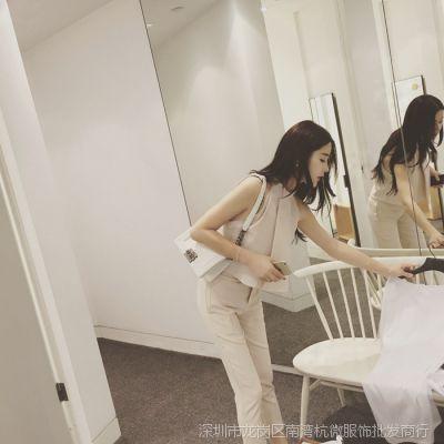 5.25 YUMI 欧美2015夏季时尚女装无袖露肩气质纯色套装