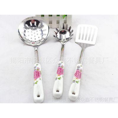 新品陶瓷柄不锈钢厨具套装 锅铲七件套厨房用品 烹饪工具直销
