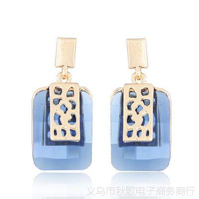 奢华气质几何宝石水晶香水瓶耳钉 女 韩国 韩版时尚 饰品首饰 697