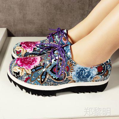 新款真皮单鞋民族风系带圆头牛皮女鞋复古平底春秋鞋子RQML=5001