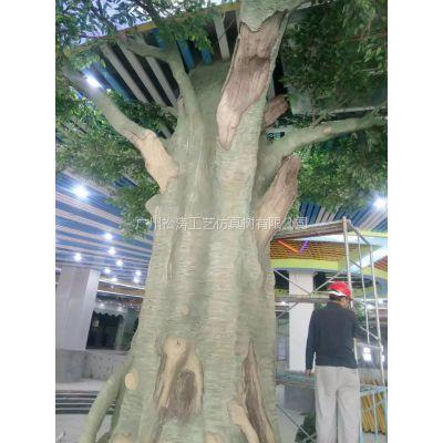 餐厅仿真榕树造景 生态餐厅 榕树 厂家定做 广州现场施工玻璃钢仿真树安装
