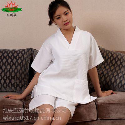 厂家直销酒店华夫格高档浴袍夏季薄款浴袍两件套装纯棉 男女通用型睡衣