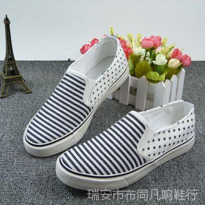 夏季女士帆布鞋批发 一脚套硫化鞋 女 学院风条纹学生鞋HW-016