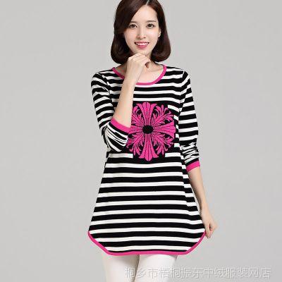 厂家直销秋冬新款女装中长款连衣裙圆领条纹甜美针织衫毛衣A字裙