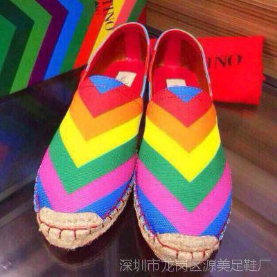 香港it代购民族风女鞋糖果色低跟条纹单鞋舒适微信一件代发37344