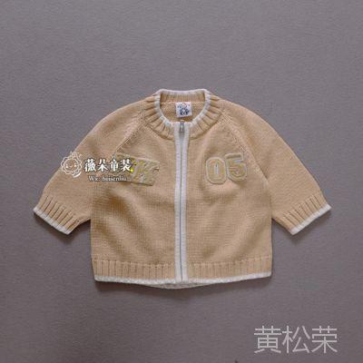 外贸原单童装批发 婴幼儿男童卡其色毛衣开衫 春秋外套潮宝宝衣服