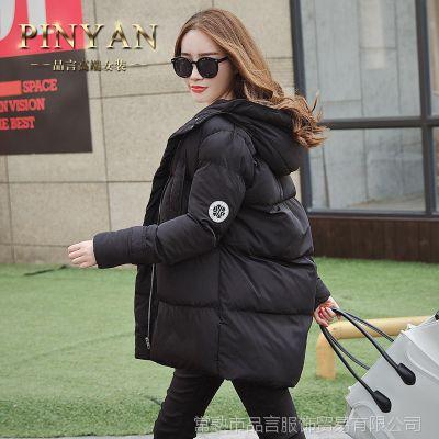 2015冬装保暖韩版外套中长款茧形棉衣女大衣廓形羽绒棉服