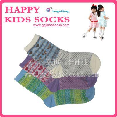 双针双路提花儿童袜子、男女儿童纯棉袜子、彩色儿童袜子