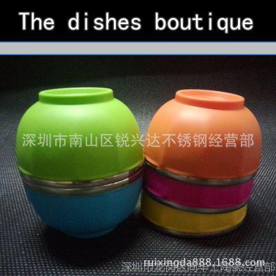 特价韩式不锈钢碗 彩色碗 双层隔热碗 儿童碗 厂家直销