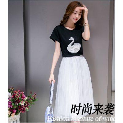 2015夏季新款女装甜美小天鹅 纯棉钉珠短袖T恤连衣裙两件套装裙子