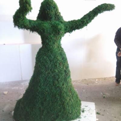 抽象人物雕塑玻璃钢贴假草皮人物现货仿绿雕羊人造草皮牛地产摆设