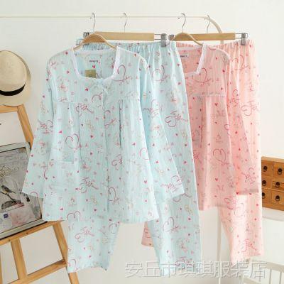 夏季新款月子孕妇服女式睡衣 成套批发全棉纱布哺乳衣喂奶衣睡衣