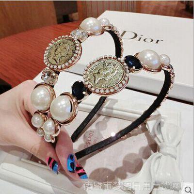 韩国欧美风走秀款巴洛克复古超美女王头像珍珠宝石发箍珍珠头箍