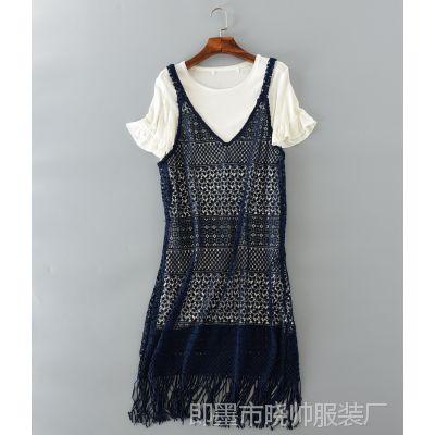 2016夏装新款短袖T恤+吊带裙两件套装连衣裙沙滩长裙
