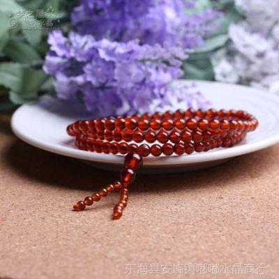 梦之屋水晶纯天然5A橙红石榴石108颗佛珠手链 美容养颜防辐射