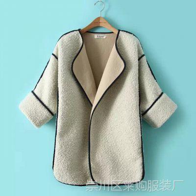 JI.D--A95/QWP 欧美新款时尚圈圈呢料加厚宽松八分袖外套 女大衣