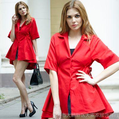 欧洲站2015欧美春季新款修身大牌红色翻领燕尾长款风衣女大衣外套