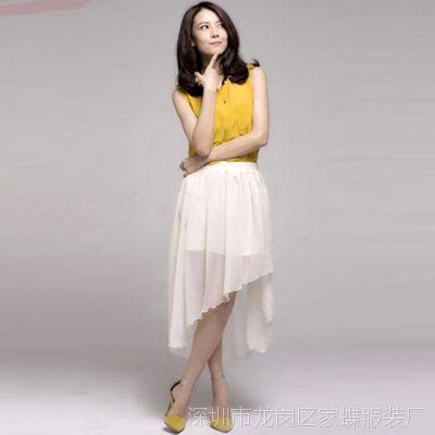2015夏季女装无袖上衣+雪纺不规则长裙 韩版气质修身雪纺女套装