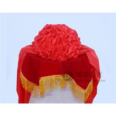 剪彩花球 婚车大红花绸缎布光荣表彰颁奖花庆典结婚托盘三四件套