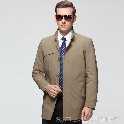 2015春秋新款九牧王男式风衣 中长薄款中年商务休闲立领夹克外套