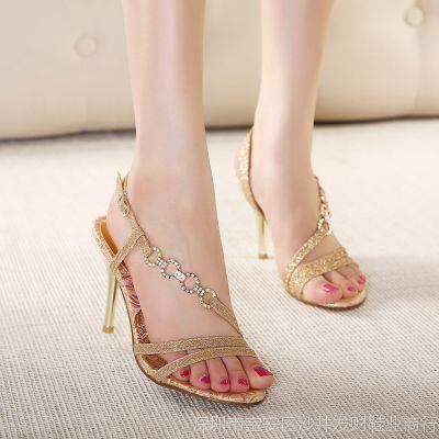 2015新款 欧美气质露趾水钻金色高跟女凉鞋优雅名媛气质女鞋婚鞋