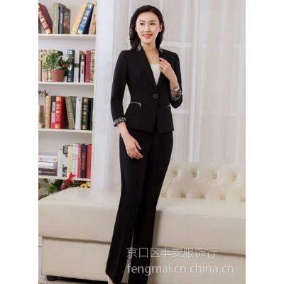精品职业西装女士TRUMPMAN九分袖黑色修身西服定制