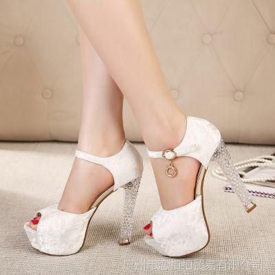 欧美夜店时尚大牌水晶高跟鞋韩国公主性感一字扣鱼嘴粗跟单鞋