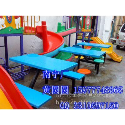 供应连体玻璃钢餐桌 南宁食堂餐桌厂家生产批发 8人背靠 报价低