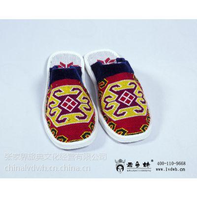 千层底手工布鞋土家族 西兰卡普 民族风拖鞋 手工艺术品