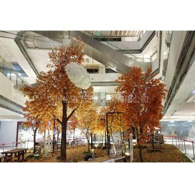 松涛工厂批发 仿真枫树 玻璃钢装饰树 商场工程设计方案装饰树
